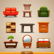 Furniture icons-set 1 - Stok Vektör