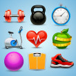 Fitness icon set — Vector de stock