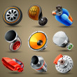 Stok Vektör: Car parts and services icons