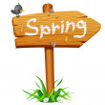 Spring wooden arrow board — Stock Vector