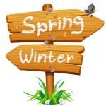 Spring wooden arrow icon — Stock Vector