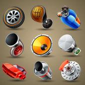 Icônes de pièces et services voiture — Vecteur