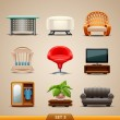 Stock Vector: Furniture icons-set 3