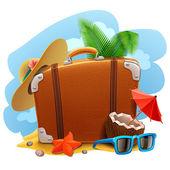 Путешествия чемодан значок — Cтоковый вектор