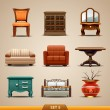 Stock Vector: Furniture icons-set 5
