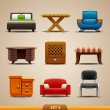 Stock Vector: Furniture icons-set 4