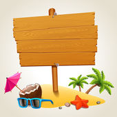 Wood sign in the beach icon — Stock Vector