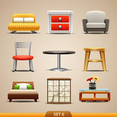Furniture icons-set 6 — Stock Vector
