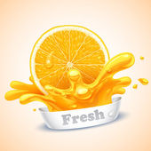 Juicy orange — Stock Vector
