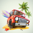 Stock Vector: Summer jeep car on beach with palm