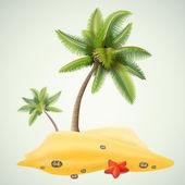 Sunny palm beach — Stock Vector