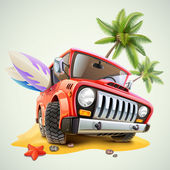 Summer jeep car on beach with palm — Stock Vector