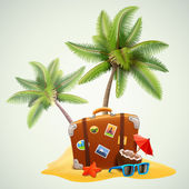 Travel suitcase on beach with palms — Stock Vector