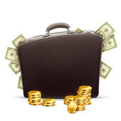Business briefcase full of money — Stock Vector