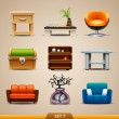 Stock Vector: Furniture icons-set