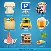Viajes icono conjunto-1 — Vector de stock