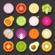 Vector de stock : Vegetable icon set
