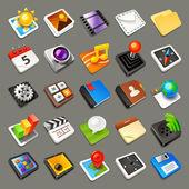Multimedia icons set — Stock Vector