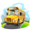 Stock Vector: Funny school bus illustration