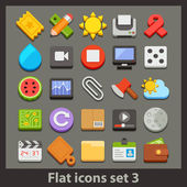Vector flat icon-set 3 — Stock Vector