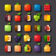 Square shaped fruit icon set — Vector de stock #32116247