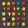 图库矢量图片: Square shaped fruit icon set