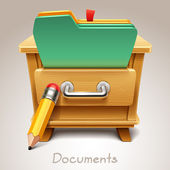 Wooden drawer illustration for documents icon — Stock Vector