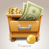 Wooden drawer illustration for finance icon — Stock Vector