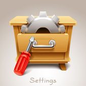 Wooden drawer illustration for settings icon — Stock Vector