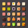 Square shaped food icon set — Stock Vector