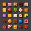 Square shaped dessert icon set — Stock Vector