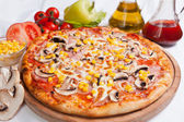 Pizza Milano with corn and mushrooms — Stock Photo