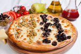 Olive focaccia pizza — Stock Photo