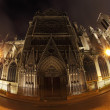 Stock Photo: Notre Dame in night with fisheye on Paris