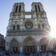Notre Dame in Paris and streets of Paris - Stock Photo