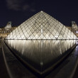 Stock Photo: Louvre Museum in Paris, France in night with water reflaction