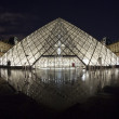 Louvre Museum in Paris, France in the night with water reflaction - Stock Photo