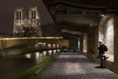 Notre Dame in night with Seine in Paris, France — Stock Photo