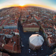 View of town Florence in sunset, in the Italian Tuscany, fisheye — Stock Photo