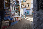 CHEFCHAOUEN, MOROCCO, NOVEMBER 20: woman walking on street of th — Stock Photo