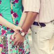 Stock Photo: Holding hands couple dating