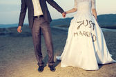 Wedding couple holding on trash the dress with dirty dress — Stock Photo
