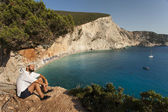 Beautiful Porto Katsiki beach panorama, one of the most famous b — Foto de Stock