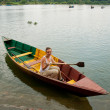 The girl in a boat — Stock Photo