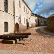 Guns in courtyard Vyborg Castle — Stock Photo