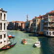 Water taxi on canal in Venice — Stock Photo #33035669