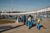Volunteers in the Olympic Park — Stock Photo
