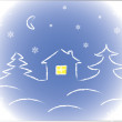 Stock Vector: Winter home and white snowflakes