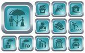 Insurance buttons — Stock Vector