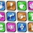 Food and drinks buttons - Stock Vector